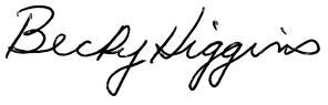 Signature: OEA President Becky Higgins