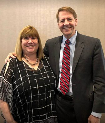 OEA President Becky Higgins and Richard Cordray.