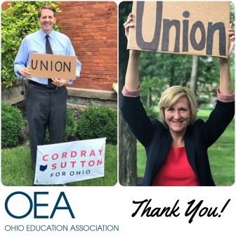 The OEA-endioresed candidates @RichCordray & @BettySutton have and will continue to ensure education has a seat at the table.