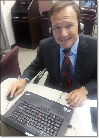 Pictured: OEA Secretary-Treasurer Mark Hill participating in an October 10th Central OEA Phone Bank at OEA Headquarters.