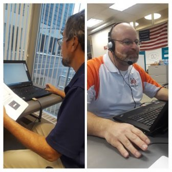 Pictured: OEA Organizer Bob Matkowski (left) and Rob Fetters, Mt. VernonEA (right) coordinate an Educators for Ohio phone bank October 2, 2018, at the OEA Columbus office.